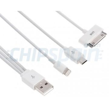 Cabo de carregamento e de dados USB 3 em 1 iPhone/iPad/Smartphone/Tablet