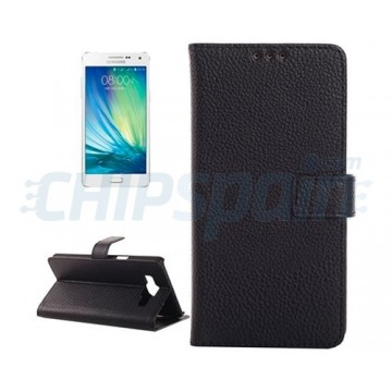 Funda de Piel con Tarjetero Samsung Galaxy A3 (A300F) -Negro