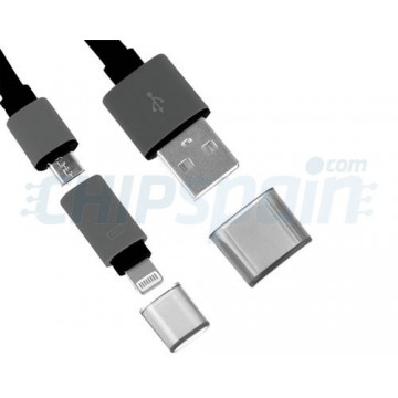Cable Noodle 2 en 1 USB a Lightning/Micro USB Negro