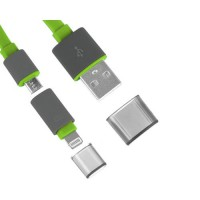 Cable 2 in 1 USB Noodle Lightning/Micro USB -Green