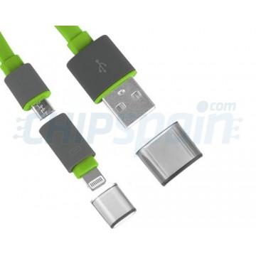 Cabo 2 em 1 USB Noodle Lightning/Micro USB -Verde