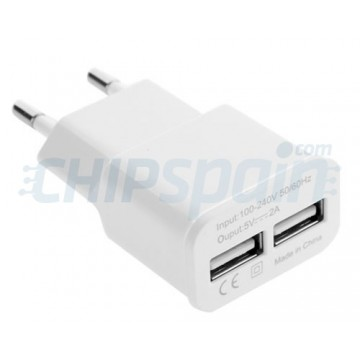 Adaptador de Corriente a USB Dual 2A -Blanco