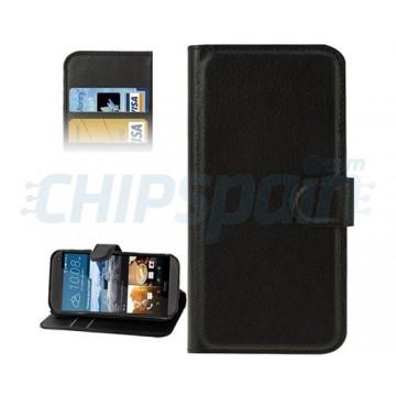 Caso Pele com Porta Cartões HTC One M9 -Preto