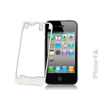 Cristal y Marco Trasero iPhone 4S -Transparente/Blanco