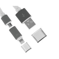 Cable Noodle 2 en 1 USB a Lightning/Micro USB -Blanco