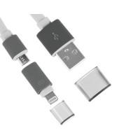 Cabo 2 em 1 USB Noodle Lightning/Micro USB -Branco