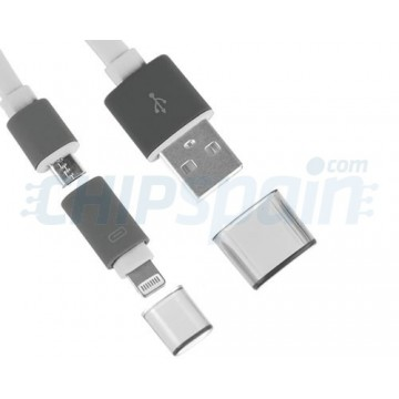 Cable 2 in 1 USB Noodle Lightning/Micro USB -White