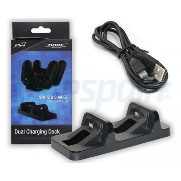USB Dual Charger Dock Station Dobe for PS4 Wireless Controller Black