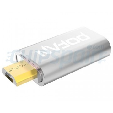 Adaptador Magnético Micro USB para Móvil Plata