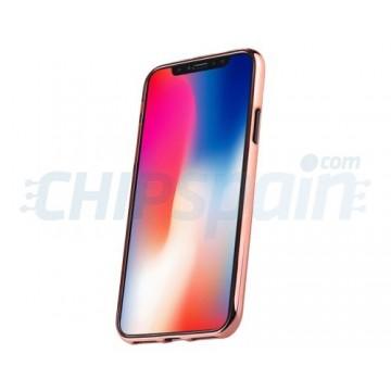 Funda iPhone X Transparente con Borde Metálico Oro Rosado