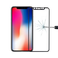 Protetor de tela Vidro temperado iPhone X Preto da borda da liga titanium