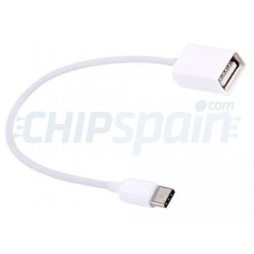 Cable USB Hembra a Tipo C OTG Macho 20cm Blanco