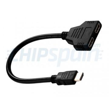 Adaptador Cable Divisor HDMI Macho Hembra Doble Negro