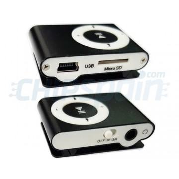 MP3 Player USB micro cartão SD com Grampo de Fixação Preto