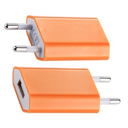 Adaptador de Corriente de Enchufe a USB Naranja