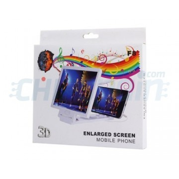 3D Mobile Screen Amplifier with Speaker White