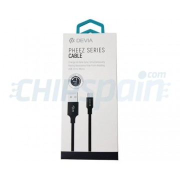 Cable Carga y Datos USB a Micro USB 1m Devia Premium Negro