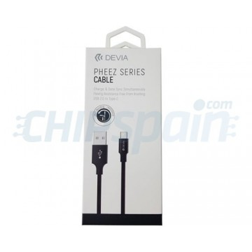 Cable Carga y Datos USB a USB Tipo C 1m Devia Premium Negro