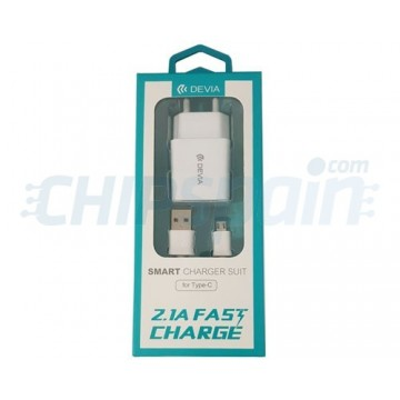Adaptador Corriente a Micro USB 2.1A Devia Premium Blanco