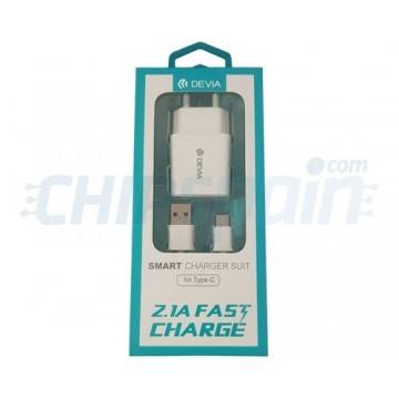 Adaptador de Corriente a USB Type C 2.1A Devia Premium Branco