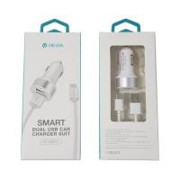 Cargador USB Coche Tipo C 2.4A Devia Premium Blanco