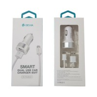Cargador USB Coche microUSB 2.4A Devia Premium Blanco
