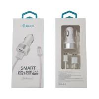 USB Car Charger microUSB 2.4A Devia Premium Branco