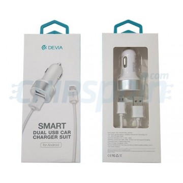 USB Car Charge rmicroUSB 2.4A Devia Premium White