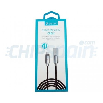USB to USB Type-C Cable 1m Zinc Alloy Connector Devia Premium Black