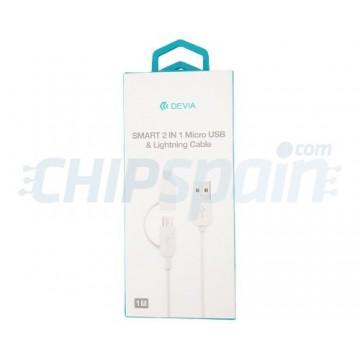 2 em 1 Micro USB e Ligthning para Adaptador USB Devia Premium Branco