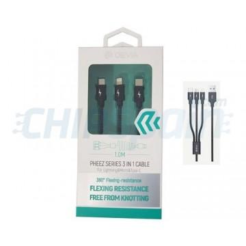 Cable 3 en 1 USB a microUSB Lightning Tipo C 1m Devia Premium Negro