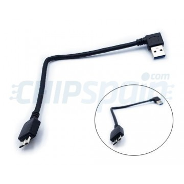 Cable USB 3.0 a Micro USB 3.0 with Right Angle 12cm Black