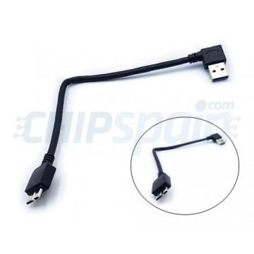 Cabo USB 3.0 para Micro USB 3.0 com ângulo reto 12cm Preto