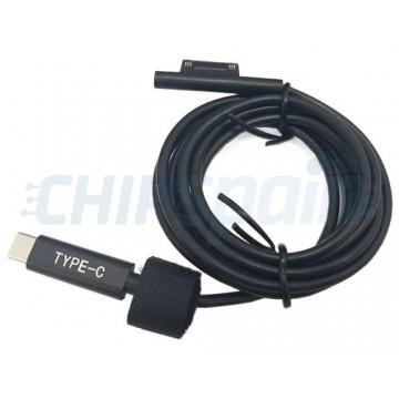 Cabo USB Tipo C para Microsoft Surface Pro 6 5 4 3 Preto