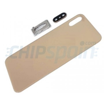 Cristal Trasero iPhone XS A2097 Batería Oro con Soporte y Lente