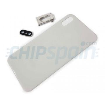 Vidro traseiro iPhone XS A2097 Bateria Branco com Suporte e Lente