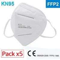 Pack 5 Facial Protection Mask Certified FFP2 / KN95 Self-priming filter respirator
