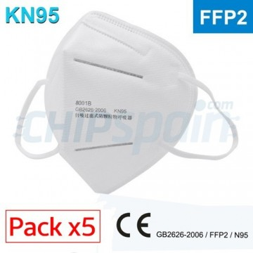 Pack 5 Facial Protection Mask Certified FFP2 / KN95 Self-priming filter respirator