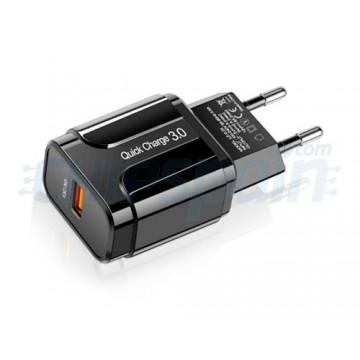 Adaptador de Corriente USB Carga Rápida 3.0 Negro