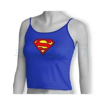 Superman: Camiseta Tirante Fino Azul Logo Superman Talla L Mujer