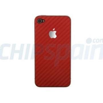 Adhesivo Trasero Carbon iPhone 4/4s -Rojo