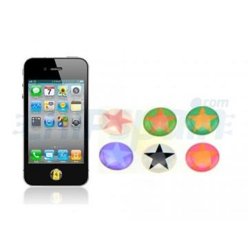 Etiquetas da tecla Home iPhone/iPad/iPod Touch -Estrelas coloridas