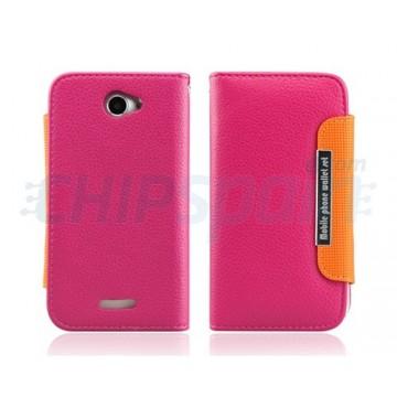 Caso Wallet Series Flip HTC One X -Magenta