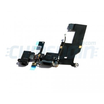 Cable Flex Conector Carga Audio y Micrófono iPhone 5 -Negro
