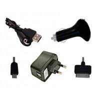 Cargador USB 4 en 1 iPhone/Micro USB -Negro