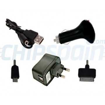 Cargador USB 4 en 1 iPhone/Micro USB -Negro