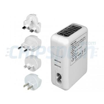 5-em-1 adaptador AC com 4 portas de carregamento USB