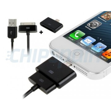 Kit Adaptador Lightning a 30pines con cable 30pines/USB -Negro