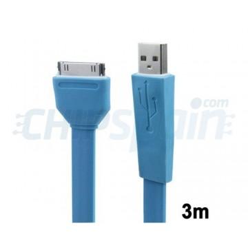 Cable Noodle USB a 30 PIN iPhone/iPad/iPod 3m Azul