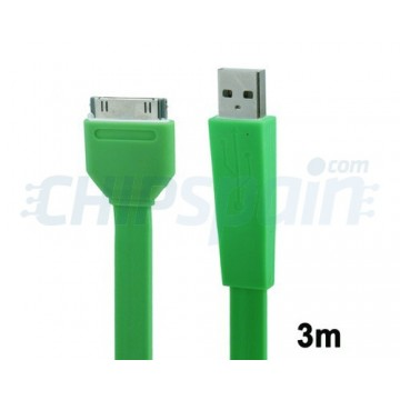 Cable Noodle USB a 30 PIN iPhone/iPad/iPod 3m Verde